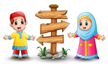 Vector illustration of Muslim kid cartoon with blank wood arrow sign