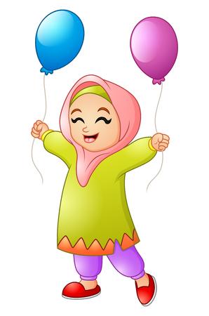 Vector illustration of Cartoon Muslim girl holding Balloon