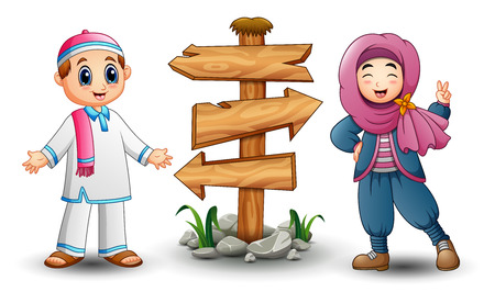 Vector illustration of Muslim kid couple and blank wood arrow sign