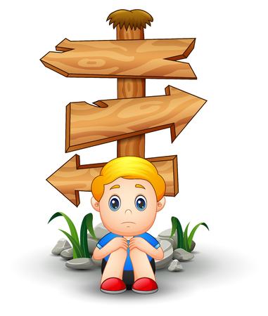 Vector illustration of Sad boy cartoon sitting under blank wood arrow sign