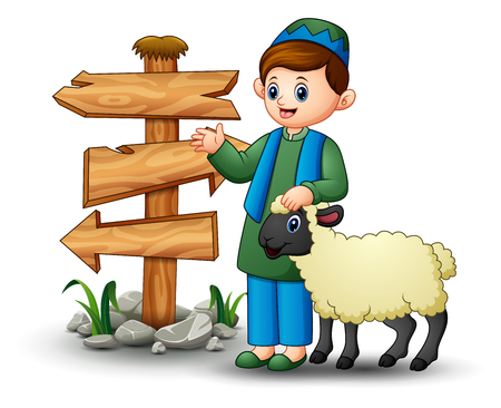 Vector illustration of Happy Muslim kid holding sheep with blank wood arrow sign