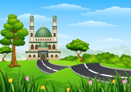 minaret: Islamic mosque building with green dome in the forest