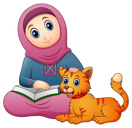 本とかわいい猫を保持しているイスラム教徒の少女漫画のベクトル イラスト  イラスト・ベクター素材