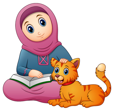 Vector illustration of Muslim girl cartoon holding book and cute cat