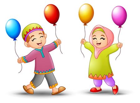 Vector illustration of Happy cartoon kid holding balloon to celebrate eid mubarak