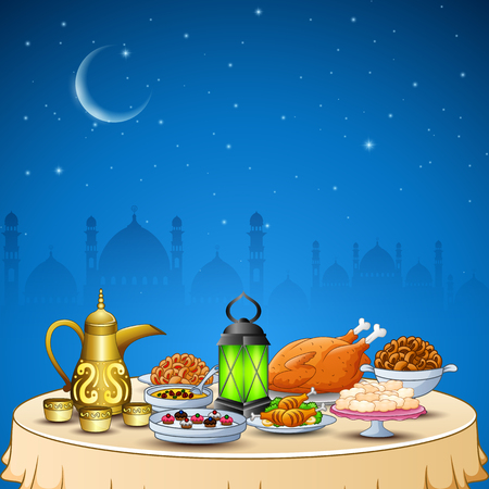 Vector illustration of Delicious dishes for Ifthar party