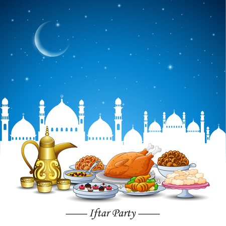 dinner date: Vector illustration of Delicious dishes for Ifthar party