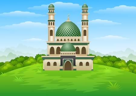 Vector illustration of Islamic mosque building with green dome in the hill