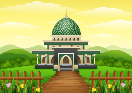 rounded circular: Vector illustration of Islamic mosque building with green dome in the garden Illustration