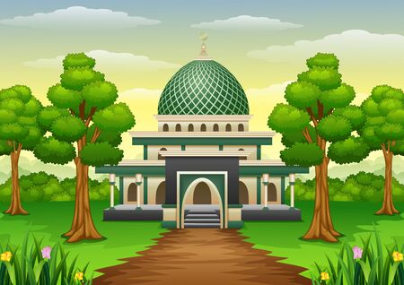 Vector illustration of Islamic mosque building with green dome in the forest