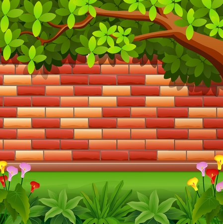 Vector illustration of Red brickwall background with tree Illustration