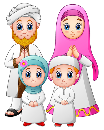 Vector illustration of Happy family celebrate for eid mubarak 向量圖像