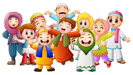 Vector illustration of Happy kids celebrate for eid mubarak Иллюстрация