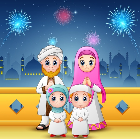 Vector illustration of Happy family celebrate for eid mubarak with mosque and fireworks background