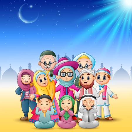 Vector illustration of Happy family celebrate for eid mubarak with mosque background Illustration