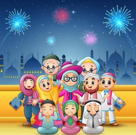 행복 한 가족의 벡터 일러스트 레이 션 eid 무바라크 모스크와 불꽃 놀이 배경 축 하