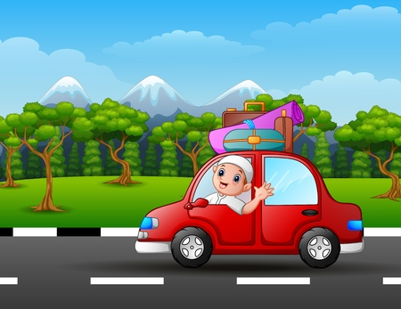 Happy muslim kid in the red car with mountain background