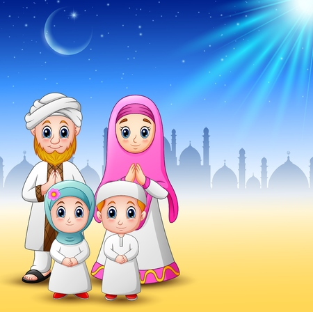family holiday: Happy family celebrate for eid mubarak with mosque background