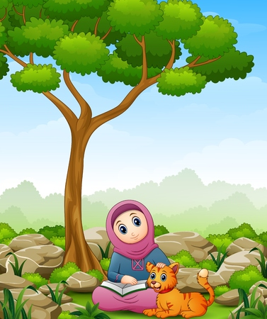 Vector illustration of Muslim girl cartoon holding a book and cat in the jungle