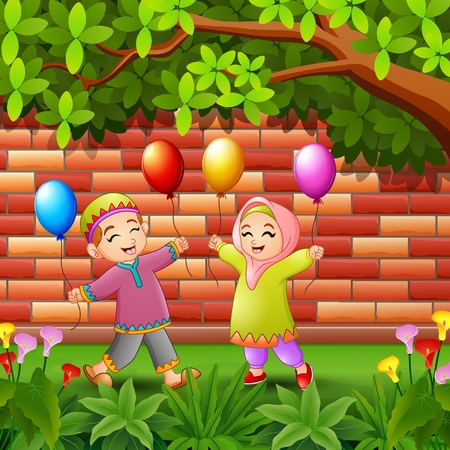 Vector illustration of Happy kids muslim cartoon holding balloon under trees