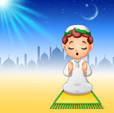 Vector illustration of Muslim kid sitting on the prayer rug while praying