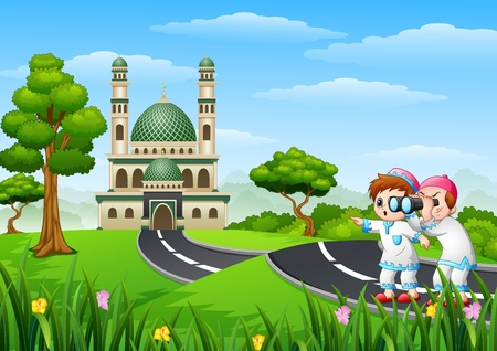 Vector illustration of Muslim kids cartoon in the street with a binoculars