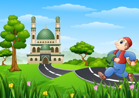 Vector illustration of Muslim kid cartoon going to mosque Illustration