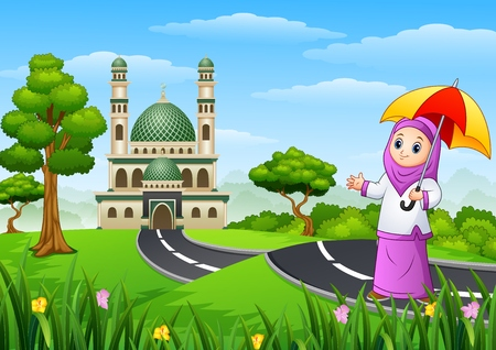 Vector illustration of Muslim girl cartoon in the street to mosque Illustration