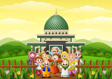 L'illustrazione di vettore del fumetto felice dei bambini celebra per eid Mubarak nel parco con la moschea