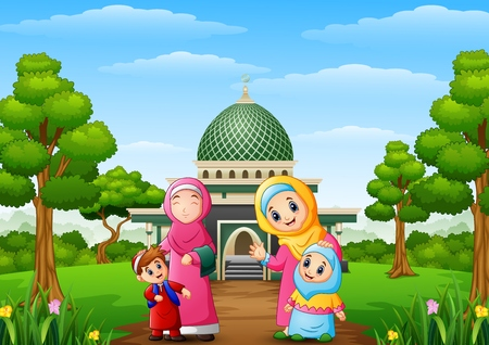 Vector illustration of Muslim womens with son and her daughter with mosque in the park