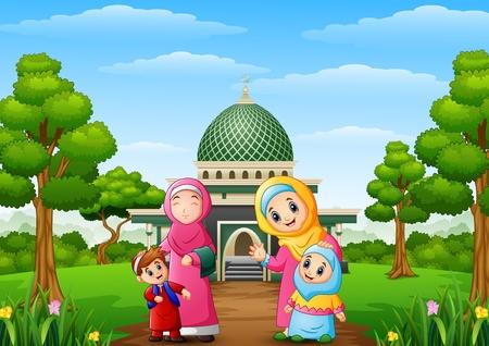 Vectorillustratie van Moslimvrouwen met zoon en haar dochter met moskee in het park