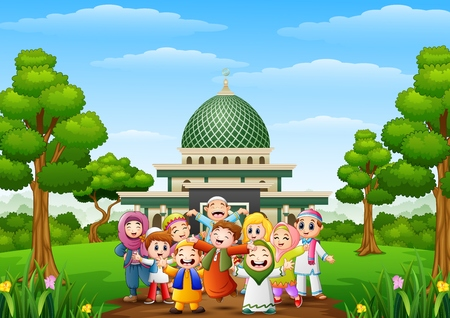 Happy cartoon kids celebrate eid mubarak with islamic mosque in the forest