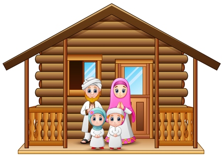 family holiday: Muslim families cartoon in the wooden house