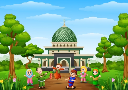 Happy kids celebrate for eid mubarak with mosque background