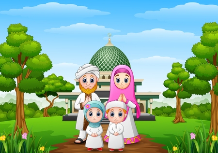 family holiday: Muslim families cartoon with mosque in the forest