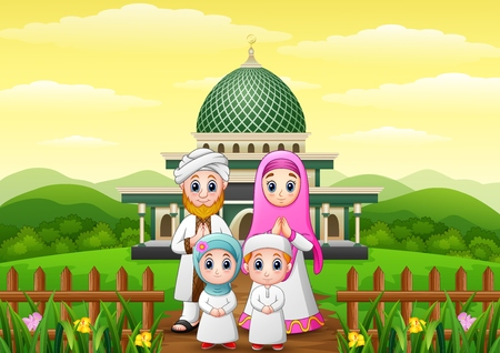 Happy family cartoons celebrate for eid mubarak with mosque in the forest Stock Photo