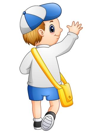 学校の制服を着たかわいい男の子のベクトル イラストは学校に行く