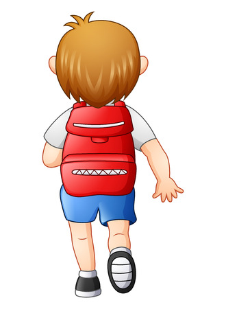 Vector illustration of Cute boy in a school uniform go to school