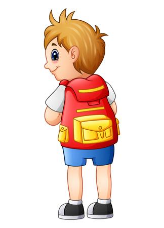 Ilustración de vector de chico lindo en un uniforme escolar con mochila Foto de archivo - 80467006
