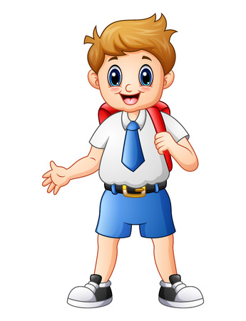 schoolkids: Vector illustration of Cute boy in a school uniform waving Illustration