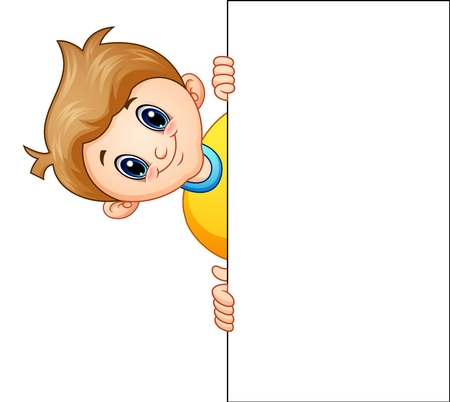Vector illustration of Cartoon boy with holding blank sign