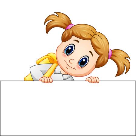 Vector illustration of School girl cartoon holding blank sign Vectores