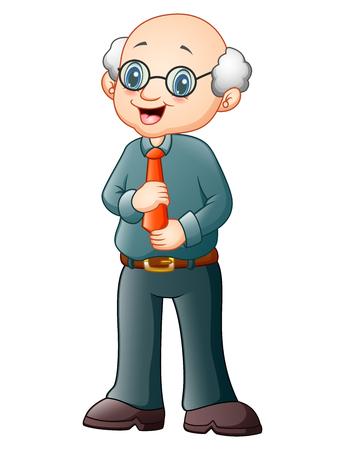 Vector illustration of Old professor in glasses standing Illustration