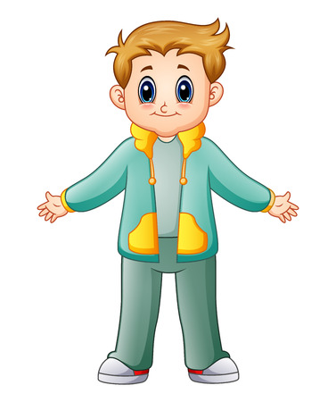 Vector illustration of Cute boy cartoon in green jacket