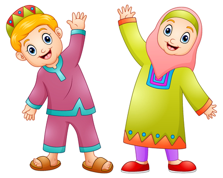 Happy muslim kids cartoon for celebrate eid mubarak Stock Photo