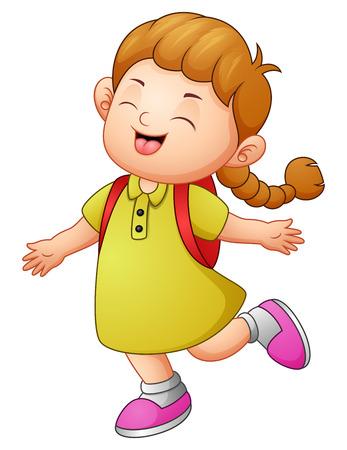 Vector illustration of Happy school girl cartoon Illustration