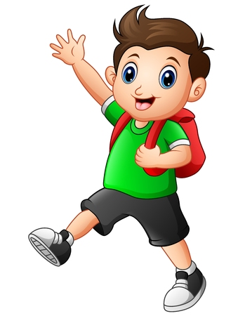 Vektorillustration des netten Jungen , der zur Schule geht Standard-Bild - 80407430