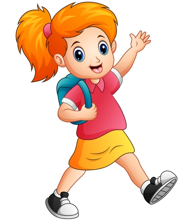 schoolkids: Vector illustration of Cute girl go to school