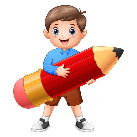 Vector illustration of School boy holding a pencil