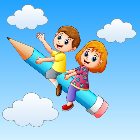 Vector illustration of School kids riding a pencil